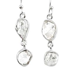10.86cts natural white herkimer diamond 925 silver dangle earrings r65808