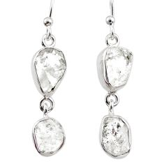 10.33cts natural white herkimer diamond 925 silver dangle earrings r65810