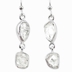10.97cts natural white herkimer diamond 925 silver dangle earrings r65811