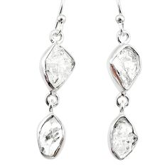 10.67cts natural white herkimer diamond 925 silver dangle earrings r65813