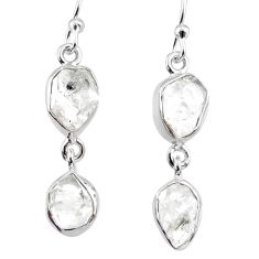 10.60cts natural white herkimer diamond 925 silver dangle earrings r65814