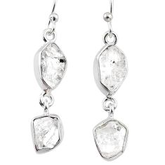 11.52cts natural white herkimer diamond 925 silver dangle earrings r65816