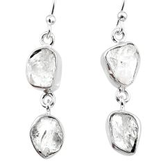 10.86cts natural white herkimer diamond 925 silver dangle earrings r65817