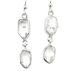 11.45cts natural white herkimer diamond 925 silver dangle earrings r65819