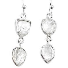 11.66cts natural white herkimer diamond 925 silver dangle earrings r65820