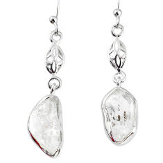 8.93cts natural white herkimer diamond 925 silver dangle earrings r69525