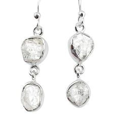 10.30cts natural white herkimer diamond 925 silver dangle earrings r69562
