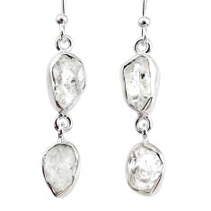 11.64cts natural white herkimer diamond 925 silver dangle earrings r69569