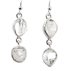 12.60cts natural white herkimer diamond 925 silver dangle earrings r69570