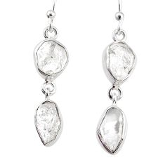 11.55cts natural white herkimer diamond 925 silver dangle earrings r69572