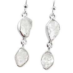 11.71cts natural white herkimer diamond 925 silver dangle earrings r69577