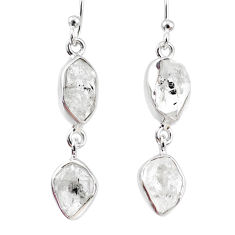 11.20cts natural white herkimer diamond 925 silver dangle earrings r69580