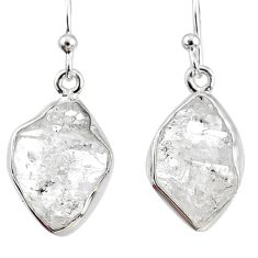 12.52cts natural white herkimer diamond 925 silver dangle earrings r69600
