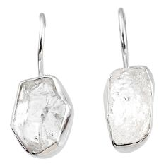 10.69cts natural white herkimer diamond 925 silver dangle earrings r69603