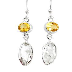 11.57cts natural white herkimer diamond 925 silver dangle earrings r69618