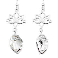 11.23cts natural white herkimer diamond 925 silver dangle earrings r73624