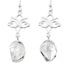 10.78cts natural white herkimer diamond 925 silver dangle earrings r73625