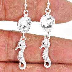 10.33cts natural white herkimer diamond 925 silver dangle earrings r89914