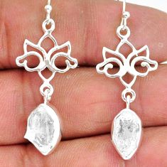 9.41cts natural white herkimer diamond 925 silver dangle earrings r89917