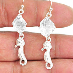 8.95cts natural white herkimer diamond 925 silver dangle earrings r90782