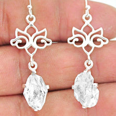 8.92cts natural white herkimer diamond 925 silver dangle earrings r90795