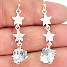 8.03cts natural white herkimer diamond 925 silver dangle earrings r90798