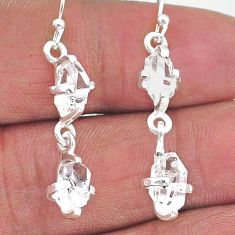 8.42cts natural white herkimer diamond 925 silver dangle earrings t14442