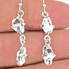 8.03cts natural white herkimer diamond 925 silver dangle earrings t14446