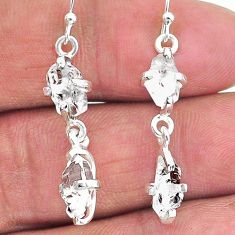 7.88cts natural white herkimer diamond 925 silver dangle earrings t14449
