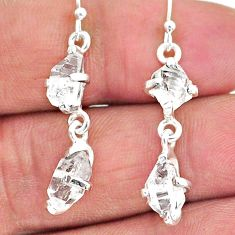 7.77cts natural white herkimer diamond 925 silver dangle earrings t14452
