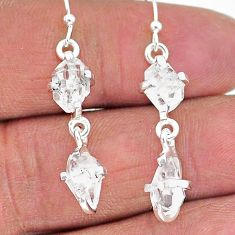 8.55cts natural white herkimer diamond 925 silver dangle earrings t14463
