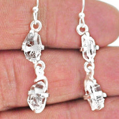 7.88cts natural white herkimer diamond 925 silver dangle earrings t14469