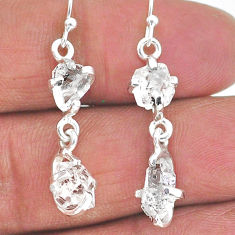 8.48cts natural white herkimer diamond 925 silver dangle earrings t14472