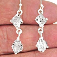 9.05cts natural white herkimer diamond 925 silver dangle earrings t14479