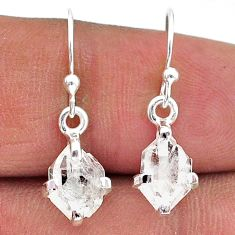 4.65cts natural white herkimer diamond 925 silver dangle earrings t15345