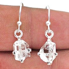 4.59cts natural white herkimer diamond 925 silver dangle earrings t15347