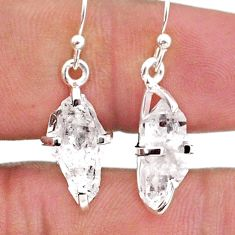 6.45cts natural white herkimer diamond 925 silver dangle earrings t49227