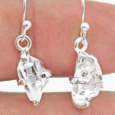 4.86cts natural white herkimer diamond 925 silver dangle earrings t50783