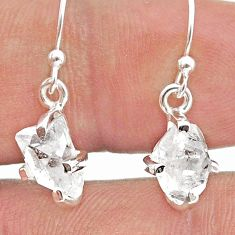 4.86cts natural white herkimer diamond 925 silver dangle earrings t50785
