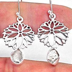 8.06cts natural white herkimer diamond 925 silver dangle flower earrings r61536