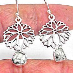 8.05cts natural white herkimer diamond 925 silver dangle flower earrings r61537