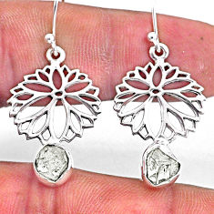 8.05cts natural white herkimer diamond 925 silver dangle flower earrings r61538