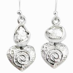 7.97cts natural white herkimer diamond 925 silver dangle heart earrings r69501
