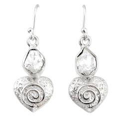 8.55cts natural white herkimer diamond 925 silver dangle heart earrings r69502