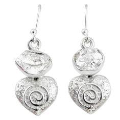 9.05cts natural white herkimer diamond 925 silver dangle heart earrings r69507