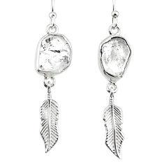 11.42cts natural white herkimer diamond 925 silver deltoid leaf earrings r65755