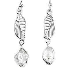 10.69cts natural white herkimer diamond 925 silver deltoid leaf earrings r65763