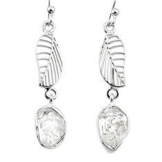 9.70cts natural white herkimer diamond 925 silver deltoid leaf earrings r65771
