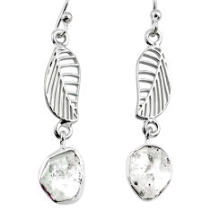 11.09cts natural white herkimer diamond 925 silver deltoid leaf earrings r65776