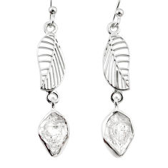 10.51cts natural white herkimer diamond 925 silver deltoid leaf earrings r65777